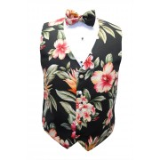 Hawaiian Awaphu, Kokio, Plumeria Floral Paradise Tuxedo Vest and Bow Tie Set