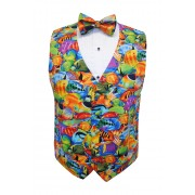 Hawaiian Tropical Saltwater Fish Tuxedo Vest and Tie Set