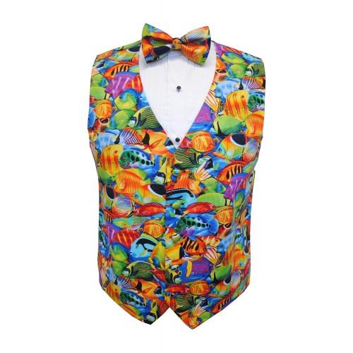 Hawaiian Tropical Saltwater Fish Tuxedo Vest and Tie Set