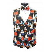 America's Cup Sailboats Vest and Bow Tie Set