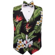 Hawaiian Plumeria and Red Bird of Paradise Tuxedo Vest and Bow Tie Set