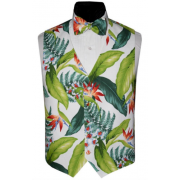 Aloha Hawaiian Bird of Paradise Tuxedo Vest and Tie Set