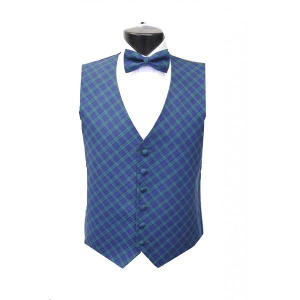 black plaid tuxedo vest and bow tie set
