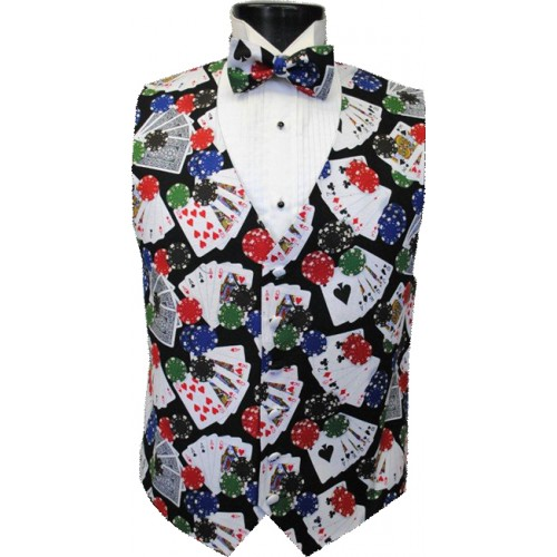 Five Card Stud Poker Vest and Bow Tie Set
