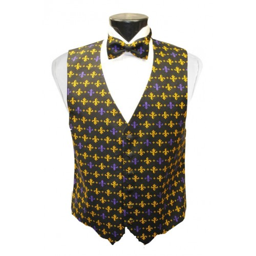 Mardi Gras Fleur de Lis Vest and Bow Tie Set