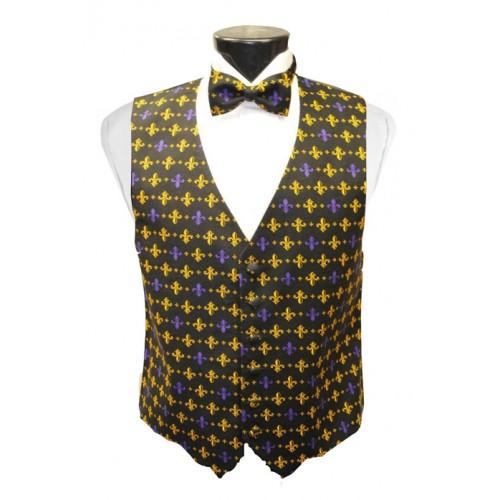 Mardi Gras Fleur de Lis Vest and Bow Tie Set