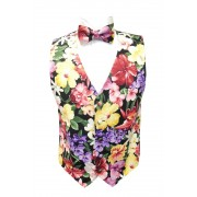 Hawaiian Multi-Floral Vest and Bow Tie Set