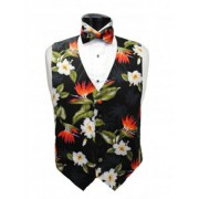 Hawaiian Flowers of Paradise Tuxedo Vest and Bow Tie Set