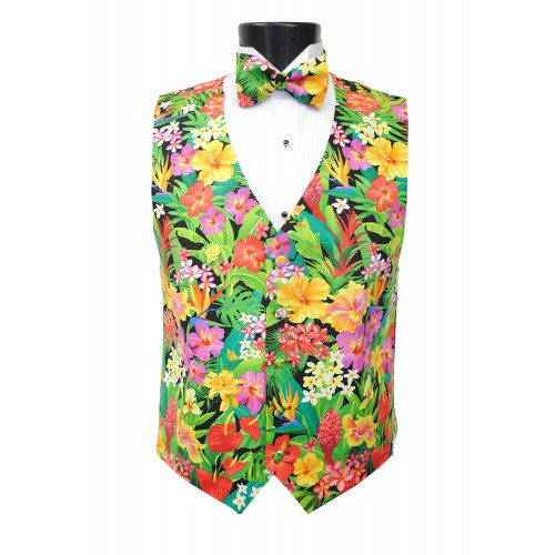 Hawaiian Floral Menagerie Vest and Bow Tie Set