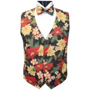 Holiday Poinsettia Vest and Bow Tie Set