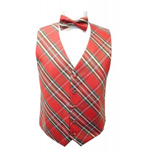 Plaid Tuxedo Vest and Bow Tie Set