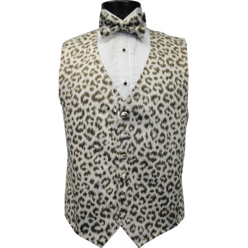 Snow Cheetah Tuxedo Vest and Tie