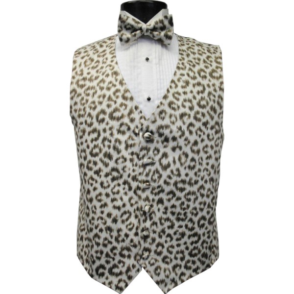 Snow Leopard Animal Print Tuxedo Vest Bow Tie /& Pocket Square Set