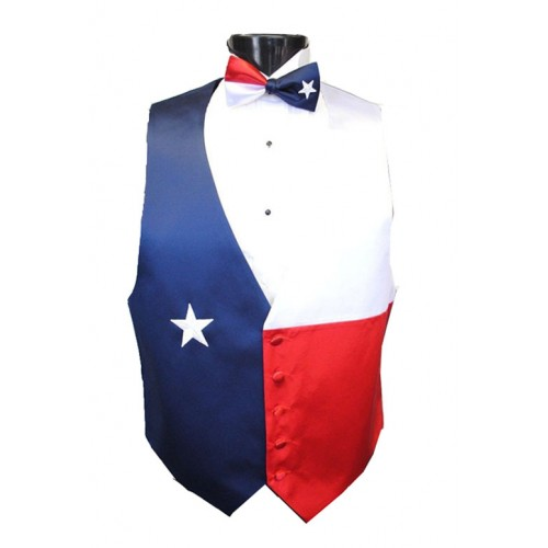Red, White, and Blue Texas Star Vest and Bow Tie Set