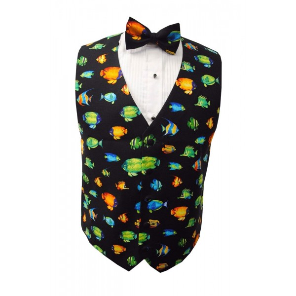 Tropical coral reef fish vest and bow tie set for Fish bow tie