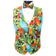 Tropical Jungle Birds Vest and Bow Tie Set