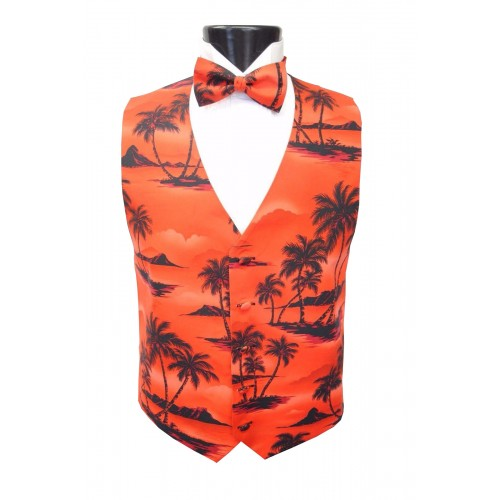 Red Tradewinds Vest and Bow Tie Set